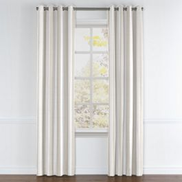 Light Beige Awning Stripe Grommet Curtains Close Up