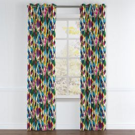 Multicolor Watercolor Grommet Curtains Close Up