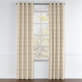 Beige Diamond Block Print Grommet Curtains Close Up