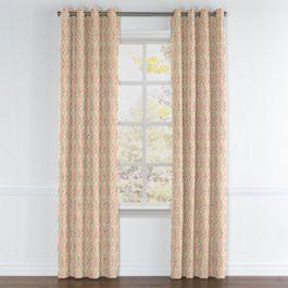 Orange Diamond Block Print Grommet Curtains Close Up