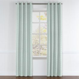 Aqua Geometric Maze Grommet Curtains Close Up
