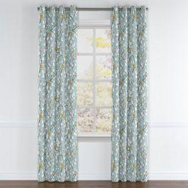 Modern Aqua Floral Grommet Curtains Close Up