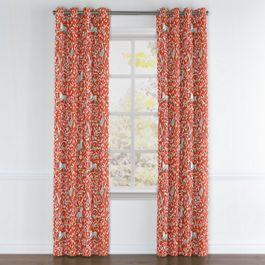 Red Animal Motif Grommet Curtains Close Up