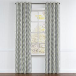 Yellow & Blue Mod Geometric Grommet Curtains Close Up