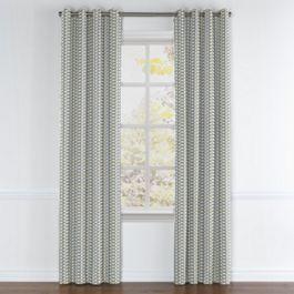 Yellow & Blue Mod Geometric Grommet Curtains Close Up