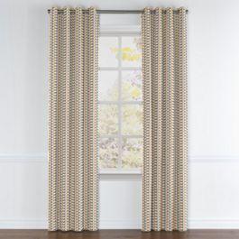 Mod Gray & Orange Geometric Grommet Curtains Close Up