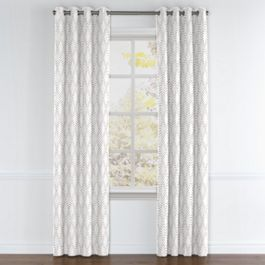 Embroidered Gray Diamond Grommet Curtains Close Up