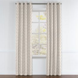 Embroidered Taupe Scallop Grommet Curtains Close Up