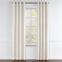 Ivory & Silver Stripe Grommet Curtains Close Up