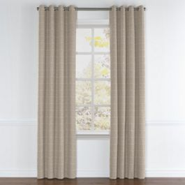 Silvery Gray Metallic Linen Grommet Curtains Close Up
