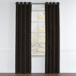 Gold Studded Black Grommet Curtains Close Up