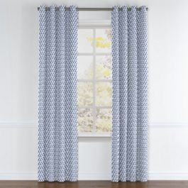 Nautical Blue Scallop Grommet Curtains Close Up