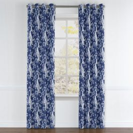 Royal Blue Koi Fish Grommet Curtains Close Up