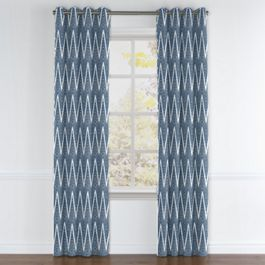 Tribal Navy Blue Chevron Grommet Curtains Close Up