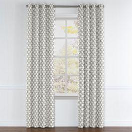 Gray Block Print Grommet Curtains Close Up