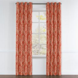 Coral Red Fan Leaf Grommet Curtains Close Up