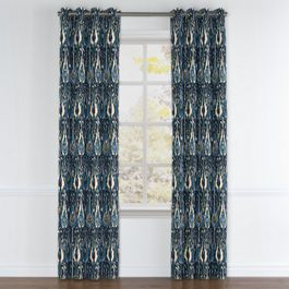 Navy Blue Ikat Grommet Curtains Close Up