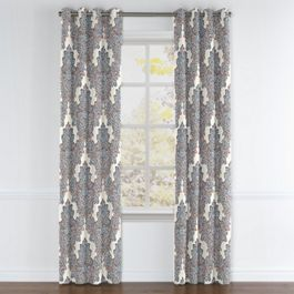 Coral & Blue Paisley Damask Grommet Curtains Close Up