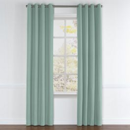 Seafoam Aqua Velvet Grommet Curtains Close Up