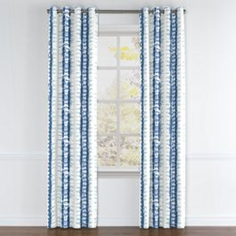 Aqua Blue Shibori Stripe Grommet Curtains Close Up