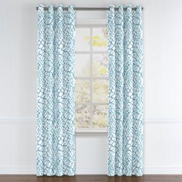 Teal & White Net Grommet Curtains Close Up