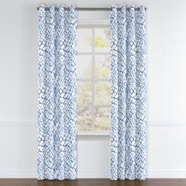 Blue & White Net Grommet Curtains Close Up