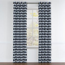 Black & Blue Dot Grommet Curtains Close Up