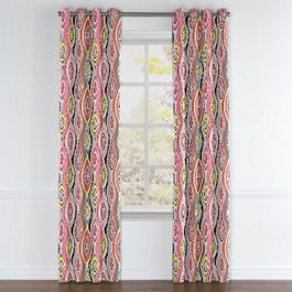 Hot Pink & Orange Abstract Grommet Curtains Close Up