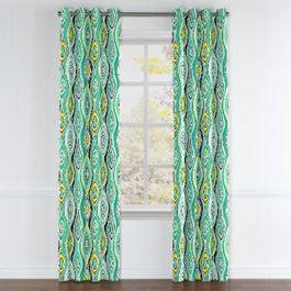 Lime Green & Yellow Abstract Grommet Curtains Close Up