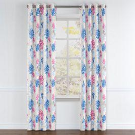 Blue & Pink Floral Grommet Curtains Close Up