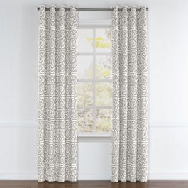 Modern Gray Trellis Grommet Curtains Close Up