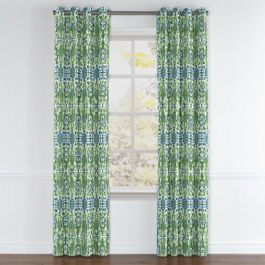 Green & Blue Ikat Grommet Curtains Close Up