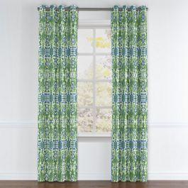 Green & Blue Ikat Grommet Curtains Close Up