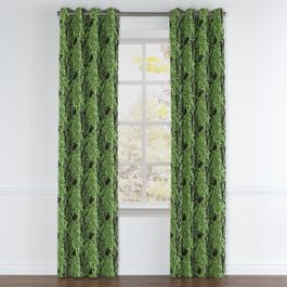 Green & Black Palm Leaf Grommet Curtains Close Up
