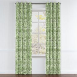 Green Watercolor Trellis Grommet Curtains Close Up