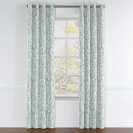 Modern Light Blue Floral Grommet Curtains Close Up