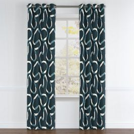 Navy Blue Ribbon Grommet Curtains Close Up