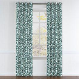 Blue Floral & Bird Grommet Curtains Close Up