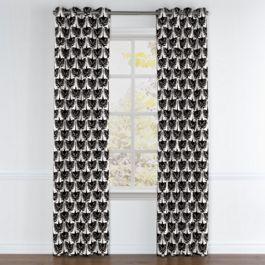 Flocked Black & White Bird Grommet Curtains Close Up