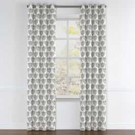 Flocked Gray Bird Grommet Curtains Close Up