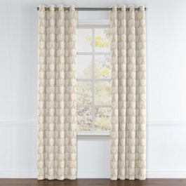 Natural & White Bird Grommet Curtains Close Up