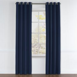 Dark Indigo Blue Linen Grommet Curtains Close Up