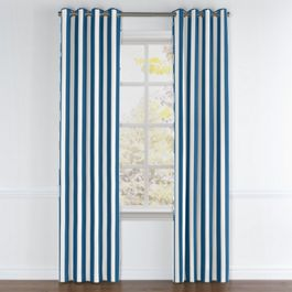 Royal Blue Awning Stripe Grommet Curtains Close Up