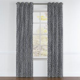 Navy Blue Floral Lattice Grommet Curtains Close Up