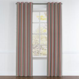 Red Blue Tan Stripe Grommet Curtains Close Up