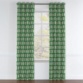 Emerald Green Trellis Grommet Curtains Close Up