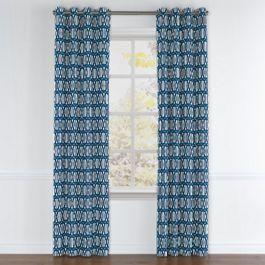 Bright Blue Trellis Grommet Curtains Close Up