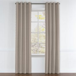 Tan & Gray Stripe Grommet Curtains Close Up