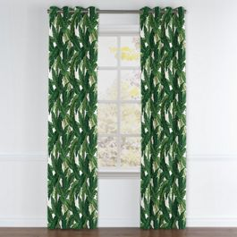 Green Banana Leaf Grommet Curtains Close Up