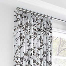 Gray Floral & Bird Euro Pleated Curtains Close Up